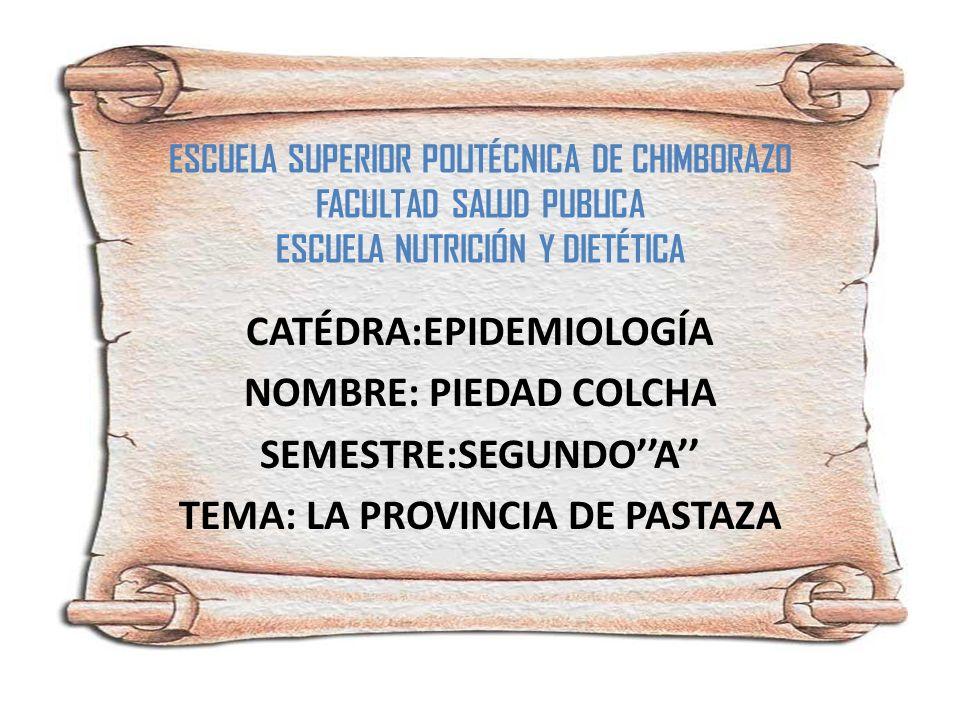 CATÉDRA:EPIDEMIOLOGÍA NOMBRE: PIEDAD COLCHA SEMESTRE:SEGUNDO''A''