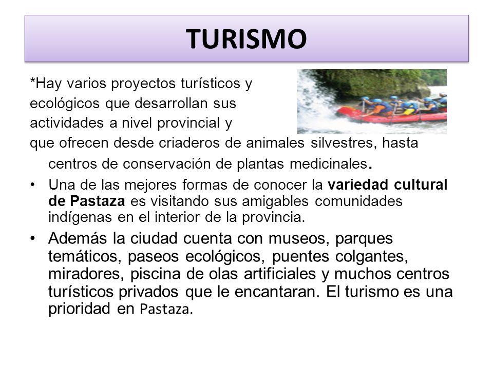 TURISMO *Hay varios proyectos turísticos y. ecológicos que desarrollan sus. actividades a nivel provincial y.