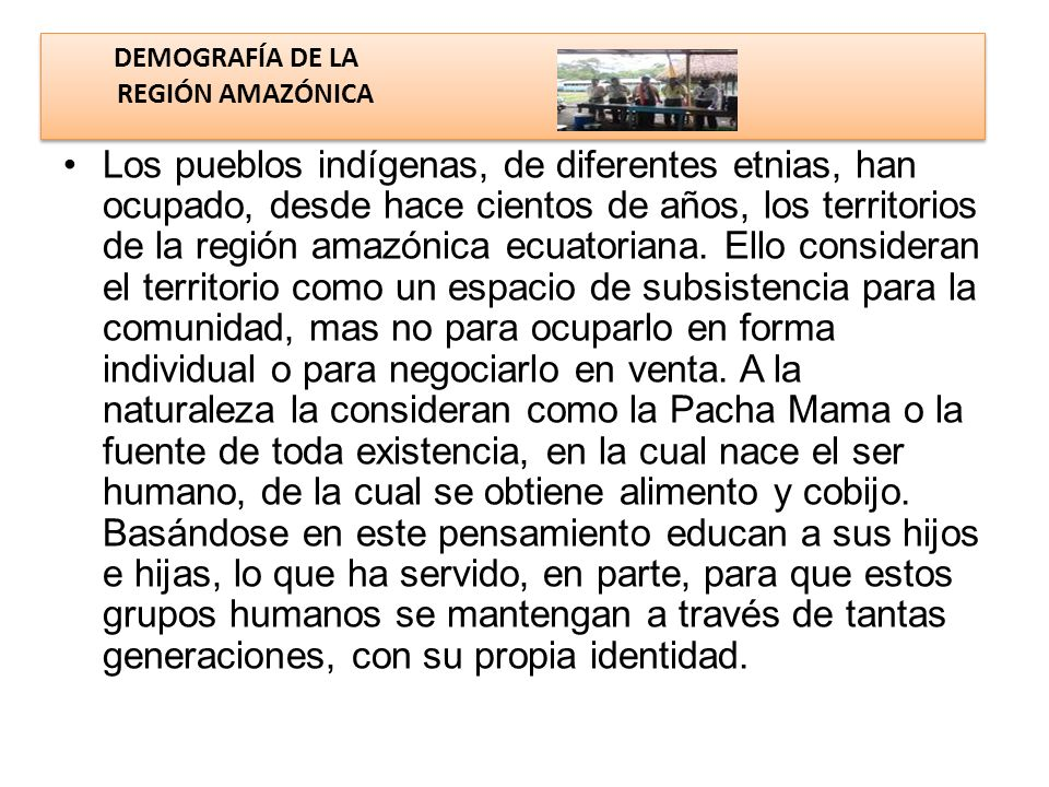 DEMOGRAFÍA DE LA REGIÓN AMAZÓNICA