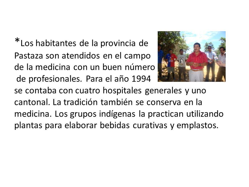 *Los habitantes de la provincia de Pastaza son atendidos en el campo de la medicina con un buen número de profesionales.