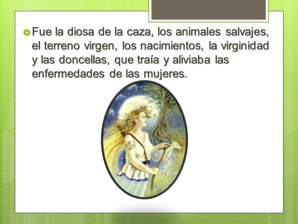 Fue la diosa de la caza, los animales salvajes, el terreno virgen, los nacimientos, la virginidad y las doncellas, que traía y aliviaba las enfermedades de las mujeres.
