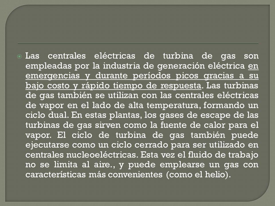 Las centrales eléctricas de turbina de gas son empleadas por la industria de generación eléctrica en emergencias y durante períodos picos gracias a su bajo costo y rápido tiempo de respuesta.