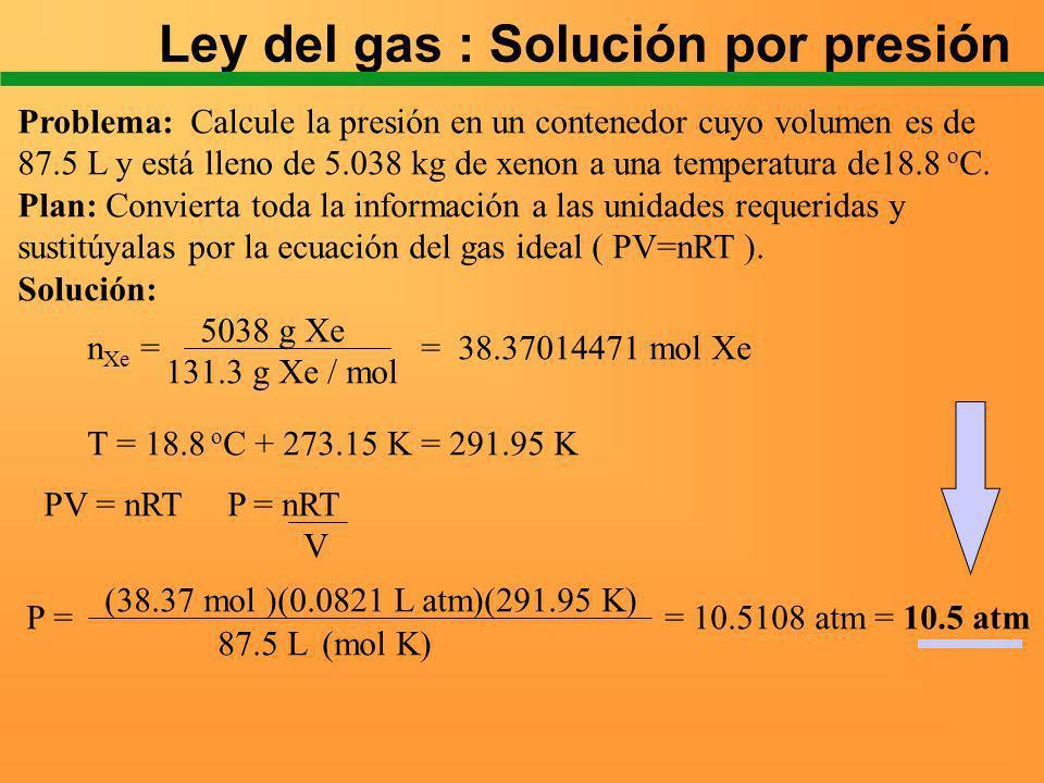 Ley del gas : Solución por presión
