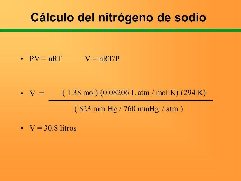 Cálculo del nitrógeno de sodio