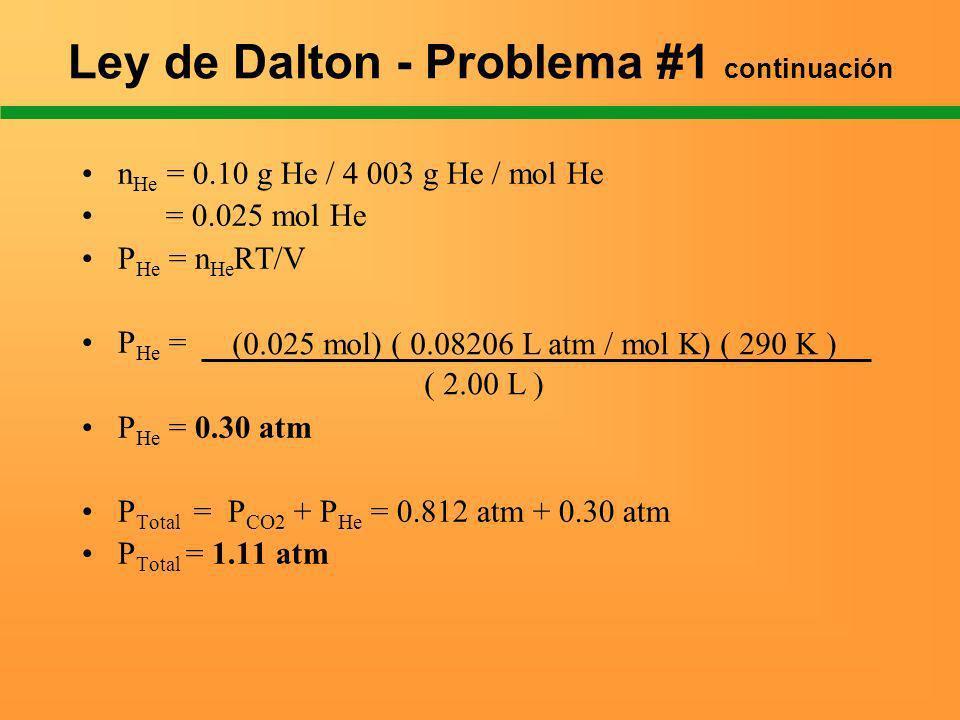 Ley de Dalton - Problema #1 continuación