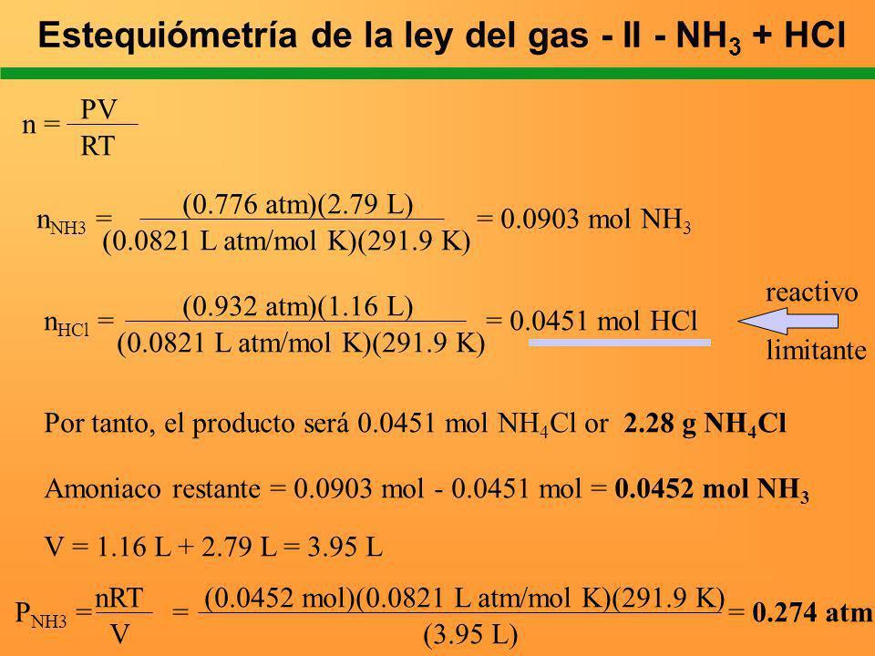 Estequiómetría de la ley del gas - II - NH3 + HCl