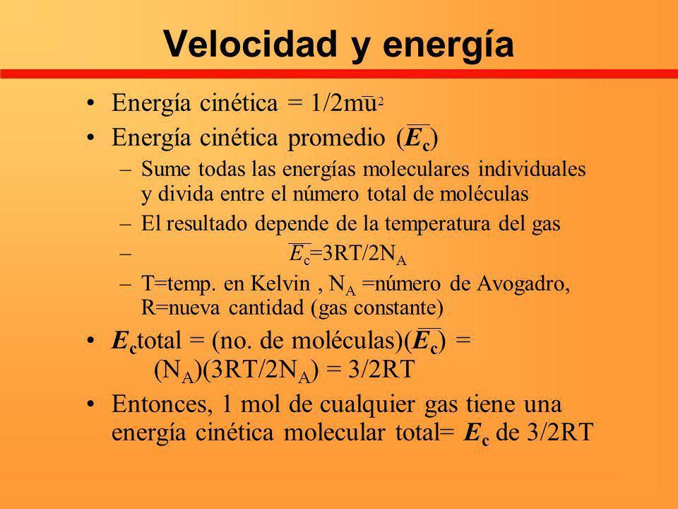Velocidad y energía Energía cinética = 1/2mu2