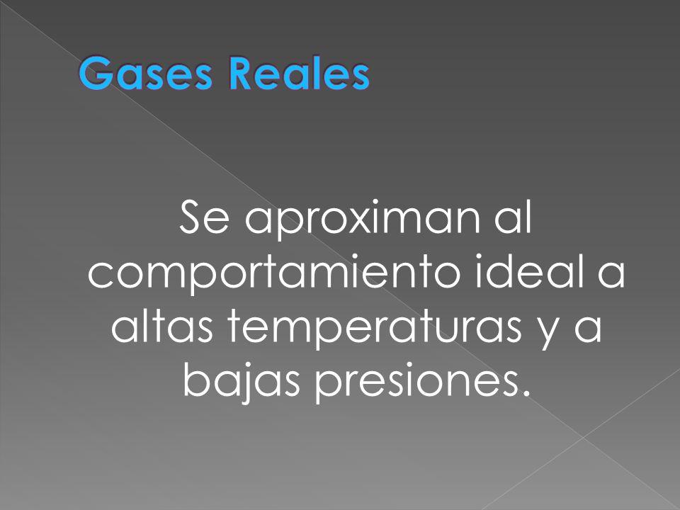 Gases Reales Se aproximan al comportamiento ideal a altas temperaturas y a bajas presiones.