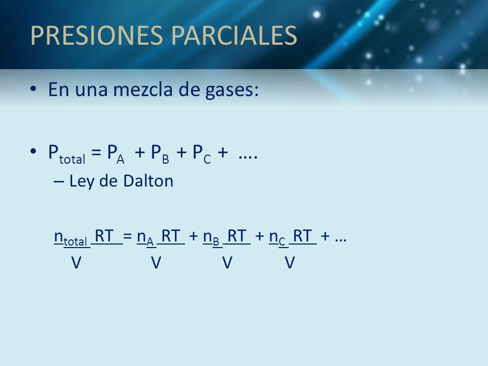 PRESIONES PARCIALES En una mezcla de gases: Ptotal = PA + PB + PC + ….