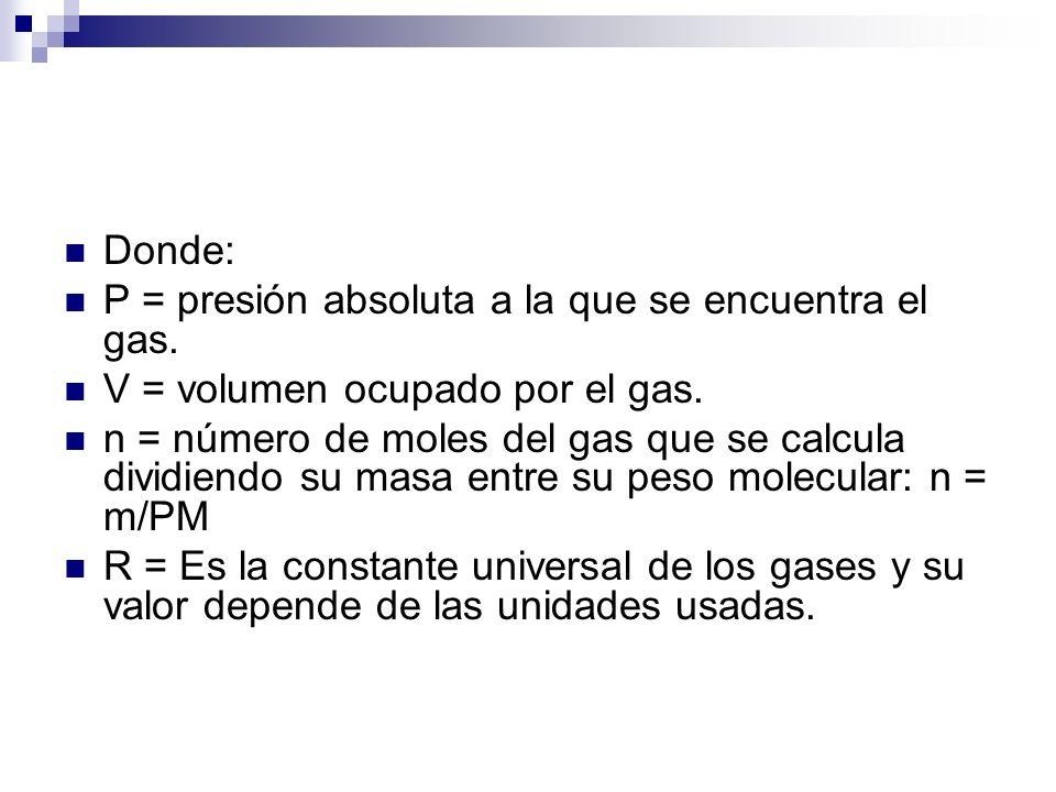 Donde: P = presión absoluta a la que se encuentra el gas. V = volumen ocupado por el gas.