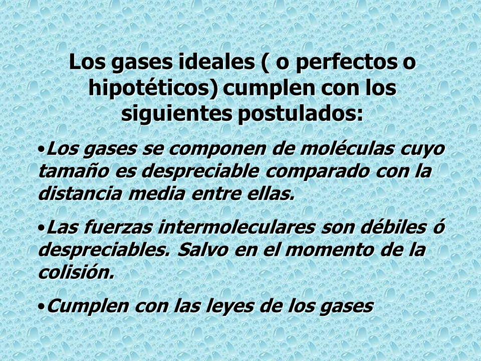 Los gases ideales ( o perfectos o hipotéticos) cumplen con los siguientes postulados: