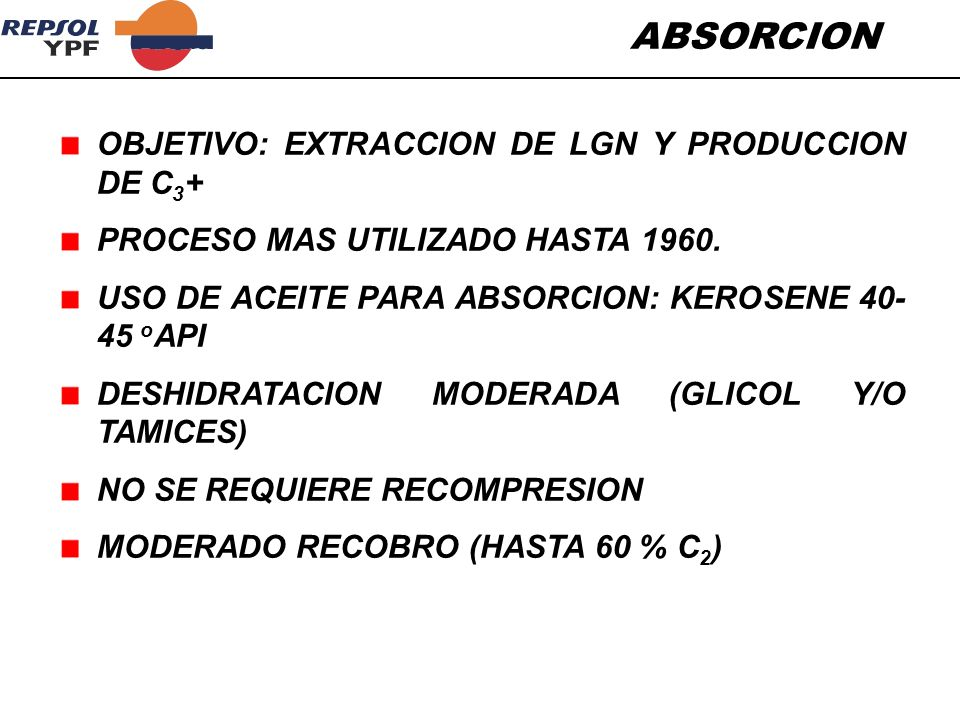 ABSORCION OBJETIVO: EXTRACCION DE LGN Y PRODUCCION DE C3+