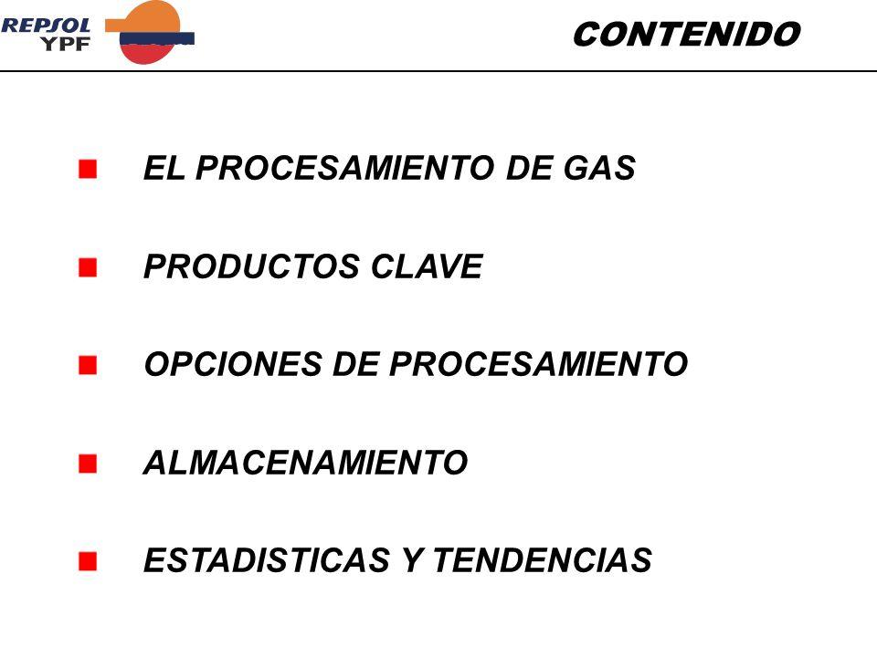 CONTENIDO EL PROCESAMIENTO DE GAS. PRODUCTOS CLAVE.