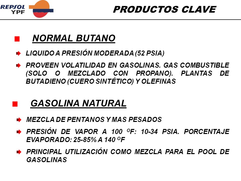 PRODUCTOS CLAVE NORMAL BUTANO GASOLINA NATURAL