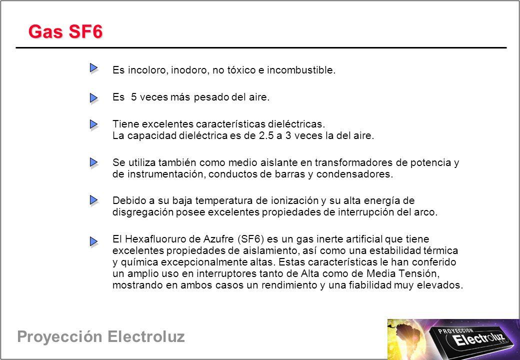 Gas SF6 Es incoloro, inodoro, no tóxico e incombustible.