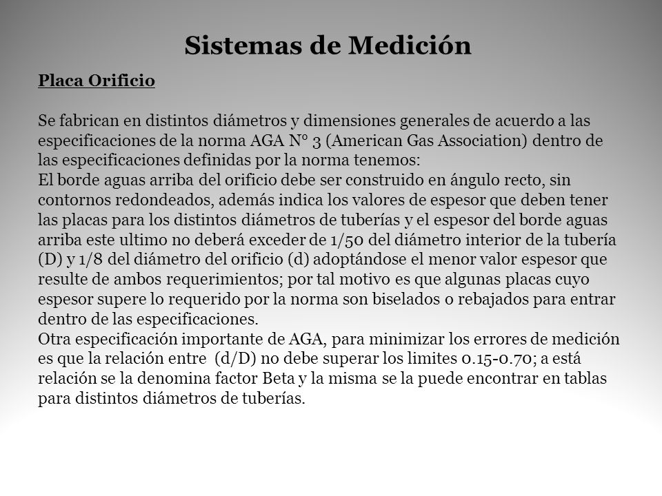 Sistemas de Medición Placa Orificio