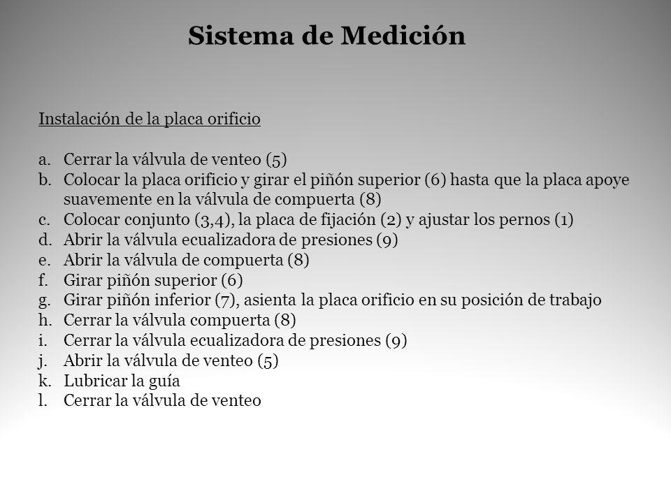 Sistema de Medición Instalación de la placa orificio