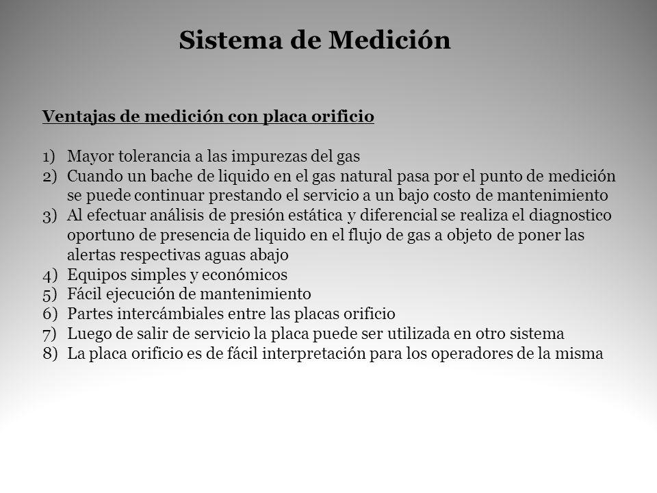 Sistema de Medición Ventajas de medición con placa orificio