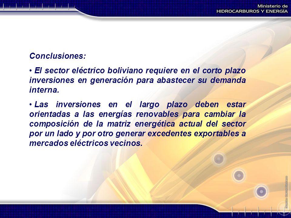 Conclusiones: El sector eléctrico boliviano requiere en el corto plazo inversiones en generación para abastecer su demanda interna.