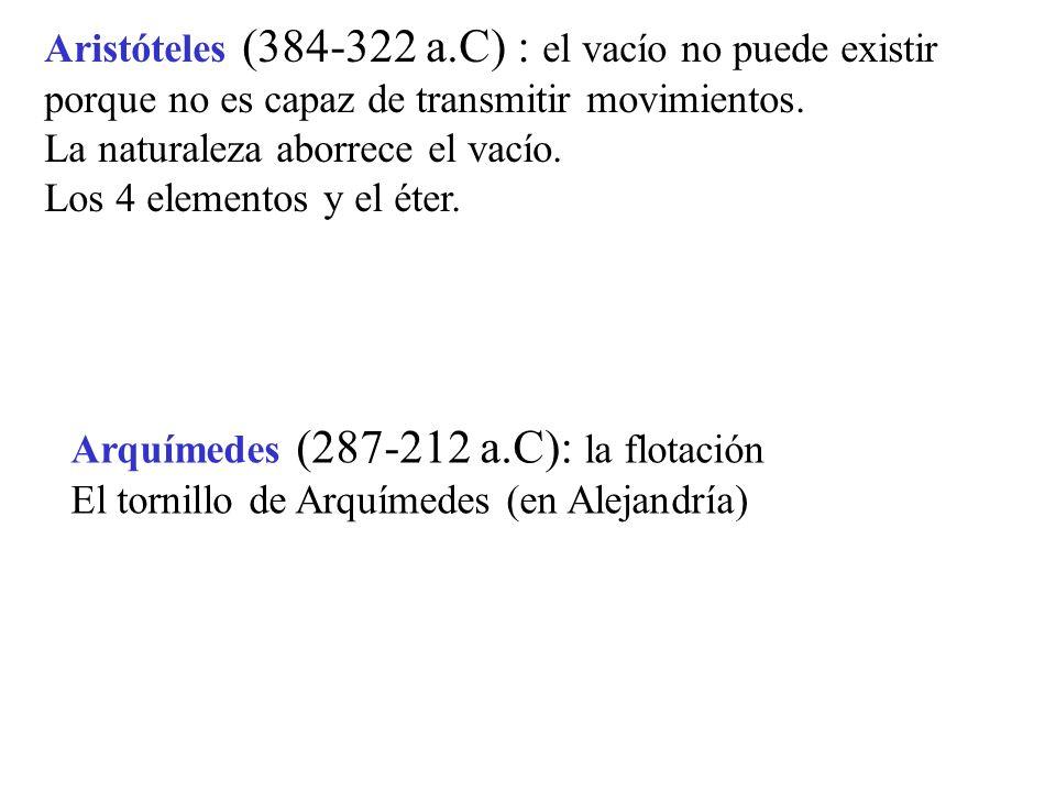 Aristóteles (384-322 a.C) : el vacío no puede existir