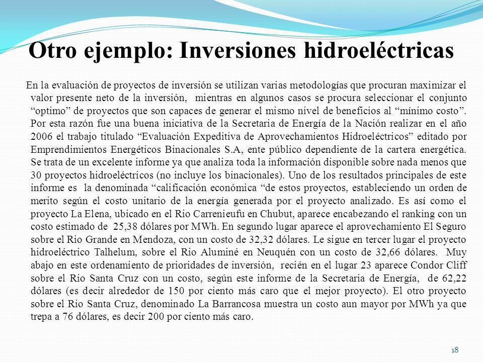 Otro ejemplo: Inversiones hidroeléctricas