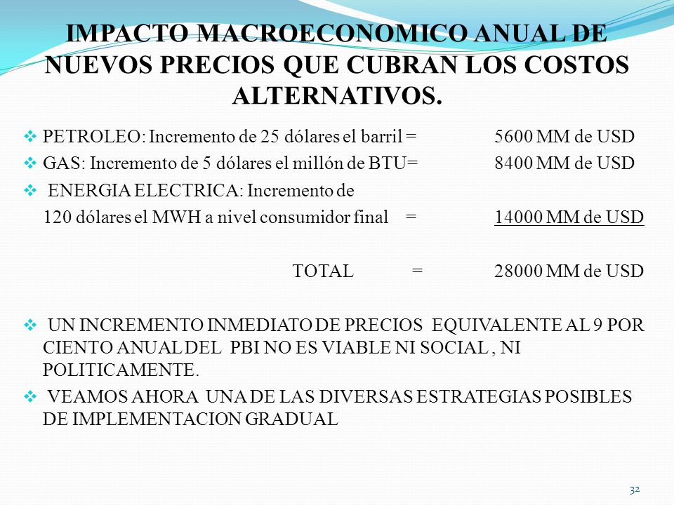 IMPACTO MACROECONOMICO ANUAL DE NUEVOS PRECIOS QUE CUBRAN LOS COSTOS ALTERNATIVOS.