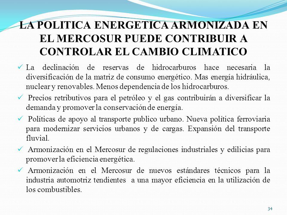 LA POLITICA ENERGETICA ARMONIZADA EN EL MERCOSUR PUEDE CONTRIBUIR A CONTROLAR EL CAMBIO CLIMATICO