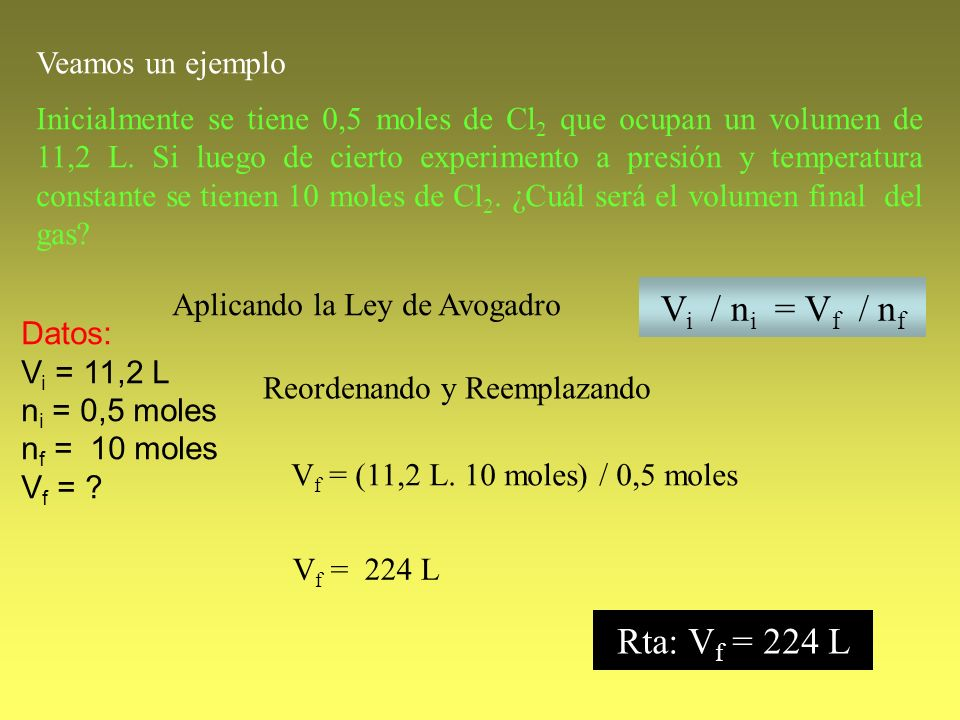 Vi / ni = Vf / nf Rta: Vf = 224 L Veamos un ejemplo