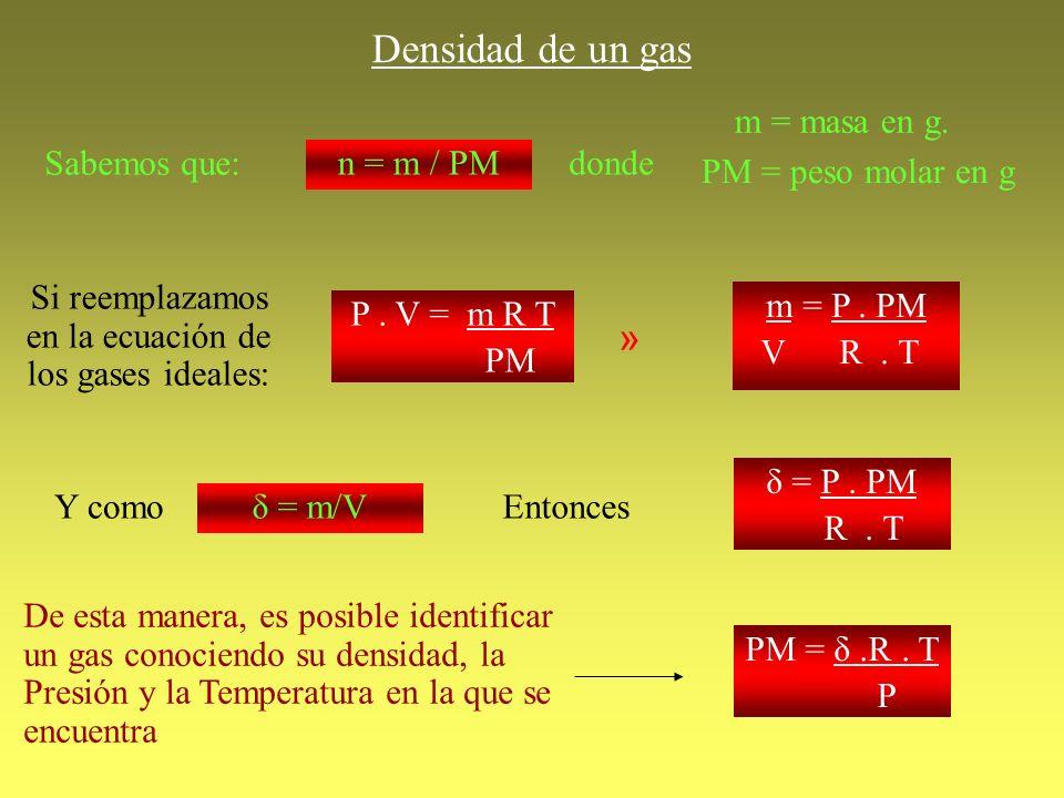 Si reemplazamos en la ecuación de los gases ideales: