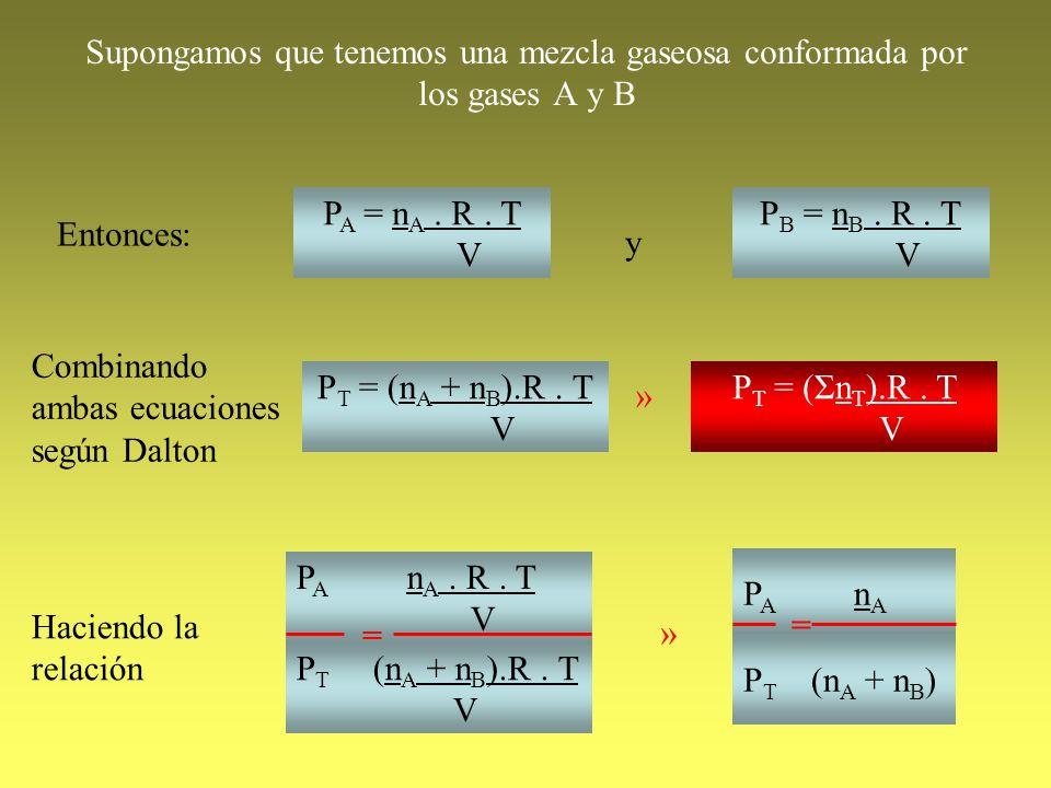 Supongamos que tenemos una mezcla gaseosa conformada por los gases A y B