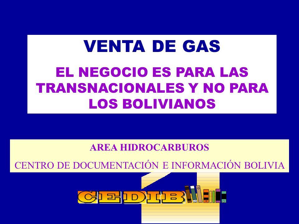 VENTA DE GAS EL NEGOCIO ES PARA LAS TRANSNACIONALES Y NO PARA LOS BOLIVIANOS.