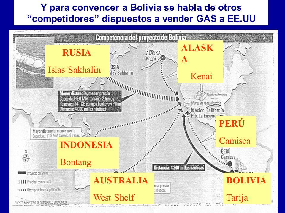 Y para convencer a Bolivia se habla de otros competidores dispuestos a vender GAS a EE.UU
