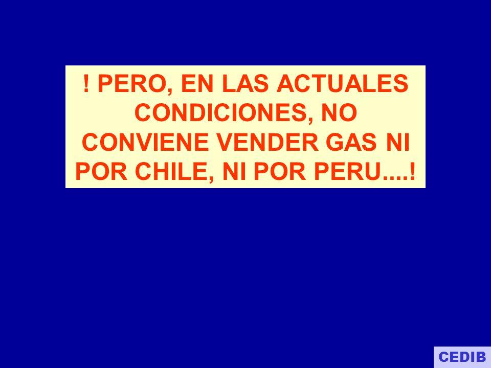 ! PERO, EN LAS ACTUALES CONDICIONES, NO CONVIENE VENDER GAS NI POR CHILE, NI POR PERU....!