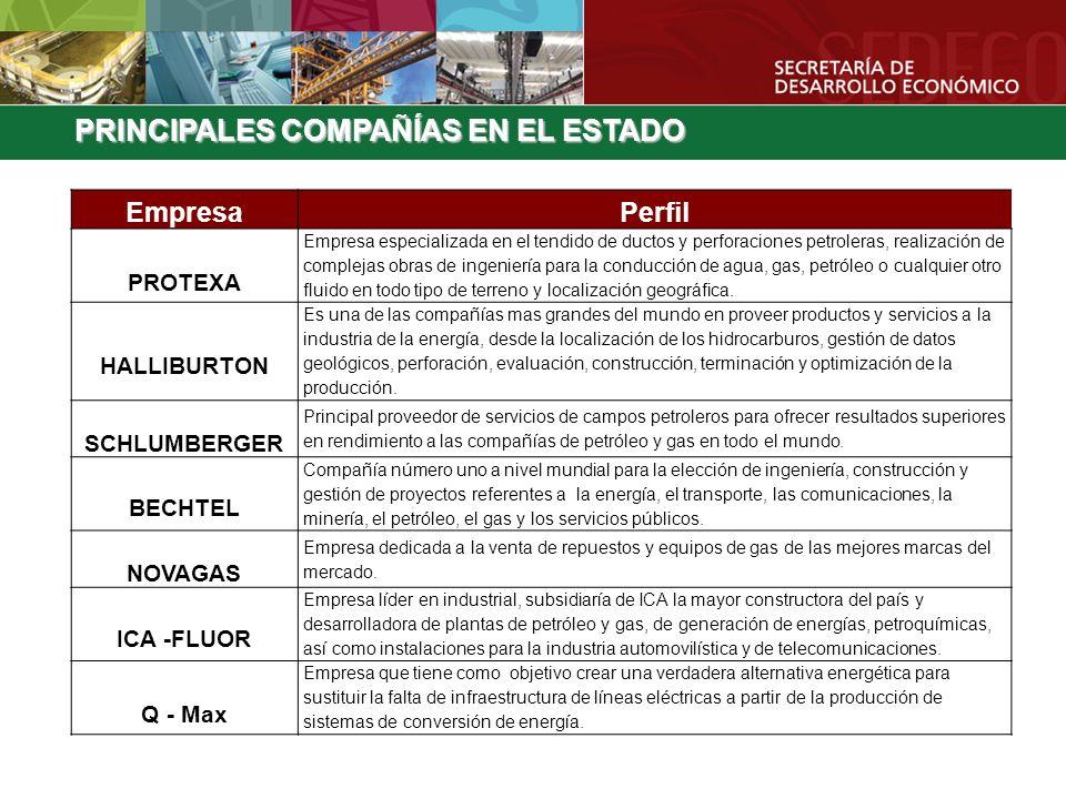 PRINCIPALES COMPAÑÍAS EN EL ESTADO