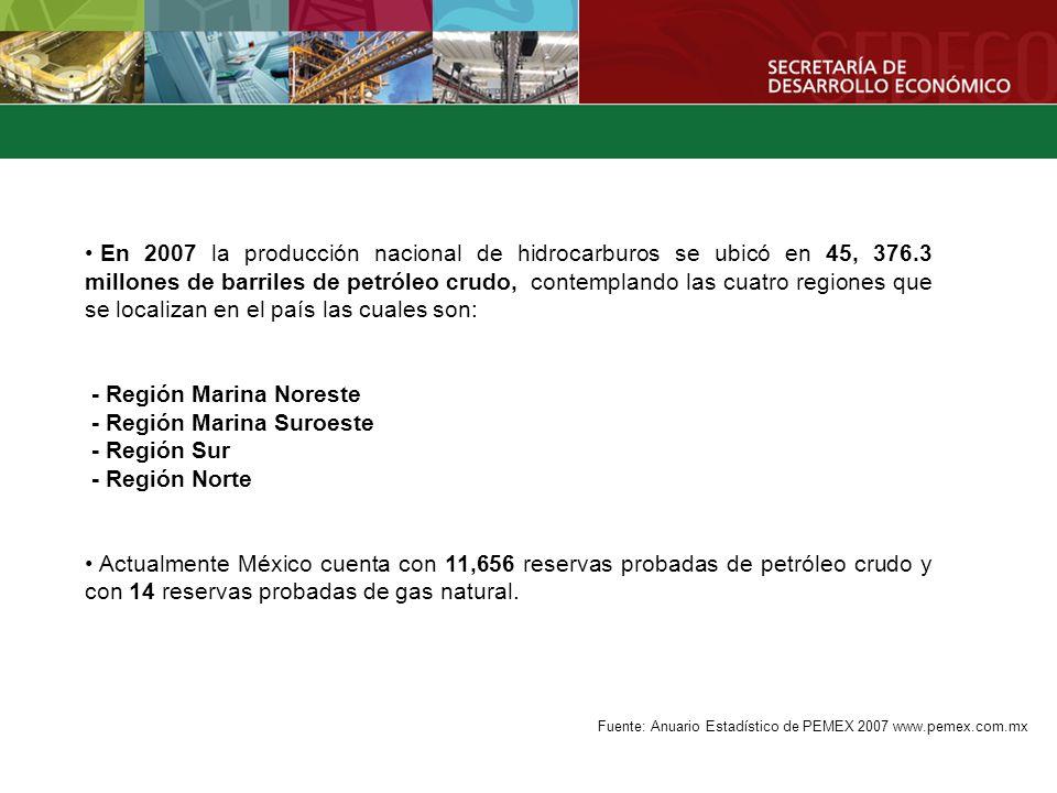 - Región Marina Noreste - Región Marina Suroeste - Región Sur