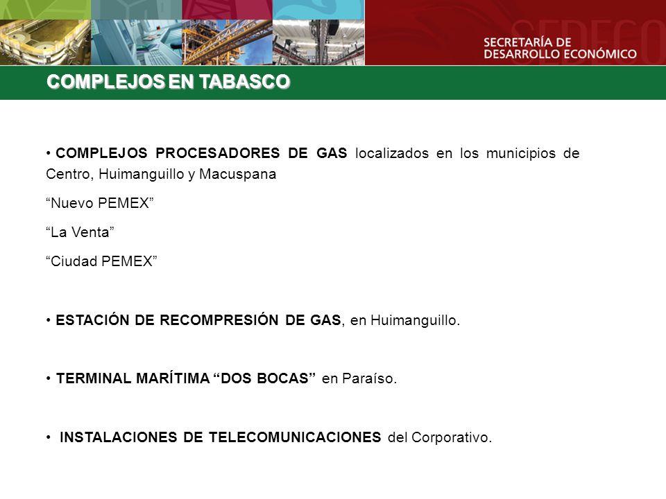 COMPLEJOS EN TABASCO COMPLEJOS PROCESADORES DE GAS localizados en los municipios de Centro, Huimanguillo y Macuspana.
