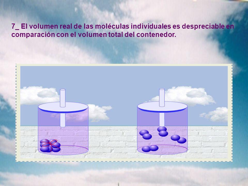 7_ El volumen real de las moléculas individuales es despreciable en comparación con el volumen total del contenedor.