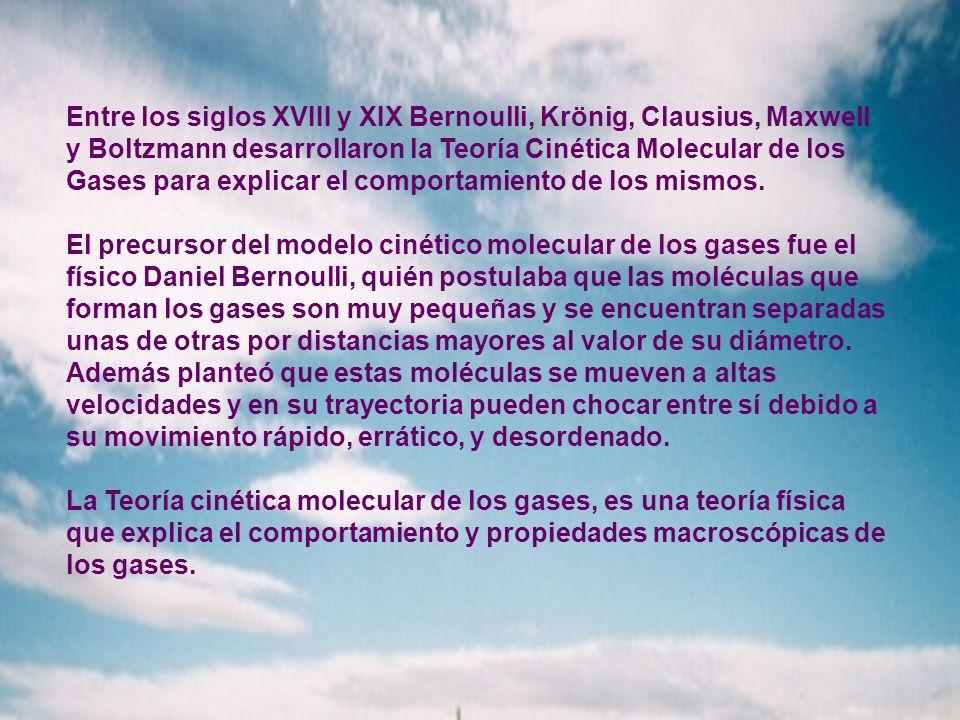 Entre los siglos XVIII y XIX Bernoulli, Krönig, Clausius, Maxwell y Boltzmann desarrollaron la Teoría Cinética Molecular de los Gases para explicar el comportamiento de los mismos.