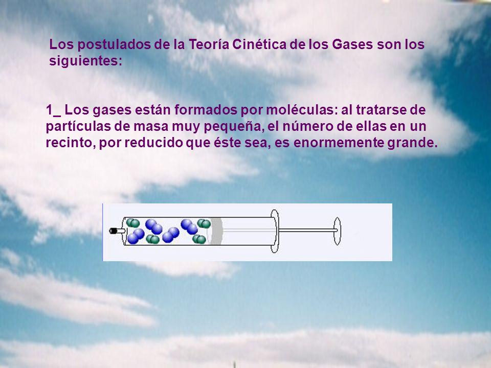 Los postulados de la Teoría Cinética de los Gases son los siguientes: