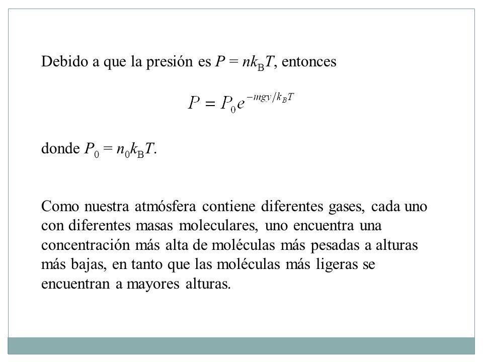 Debido a que la presión es P = nkBT, entonces