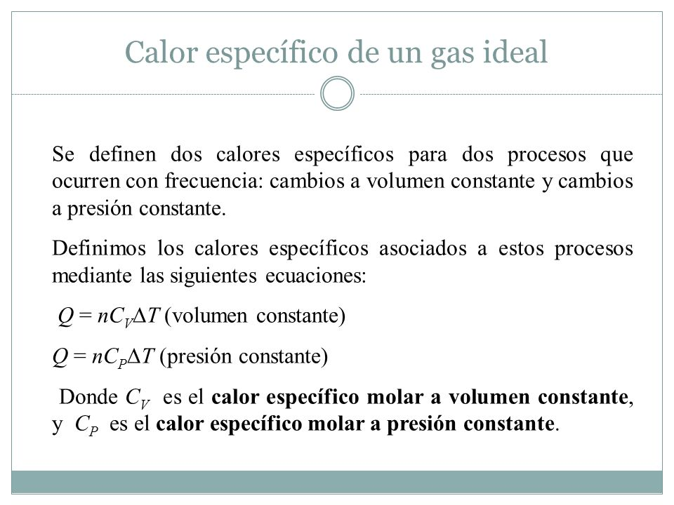 Calor específico de un gas ideal