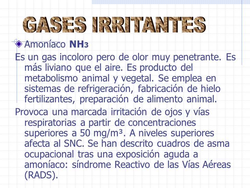 GASES IRRITANTES Amoníaco NH3
