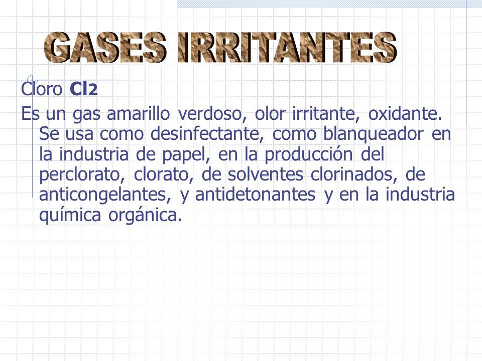 GASES IRRITANTES Cloro Cl2
