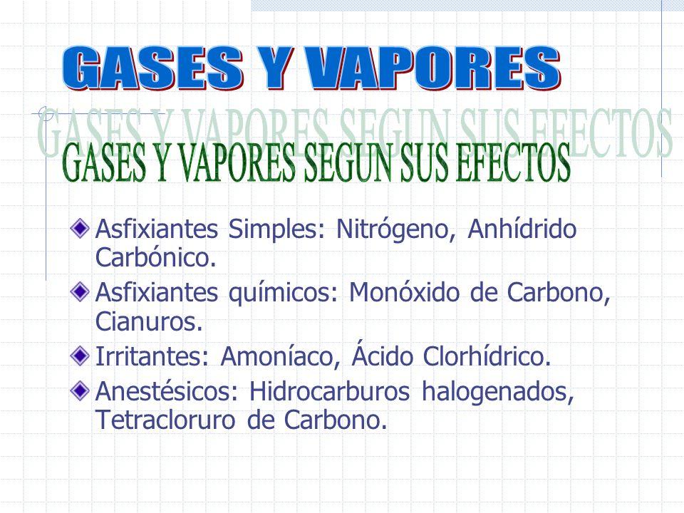 GASES Y VAPORES SEGUN SUS EFECTOS