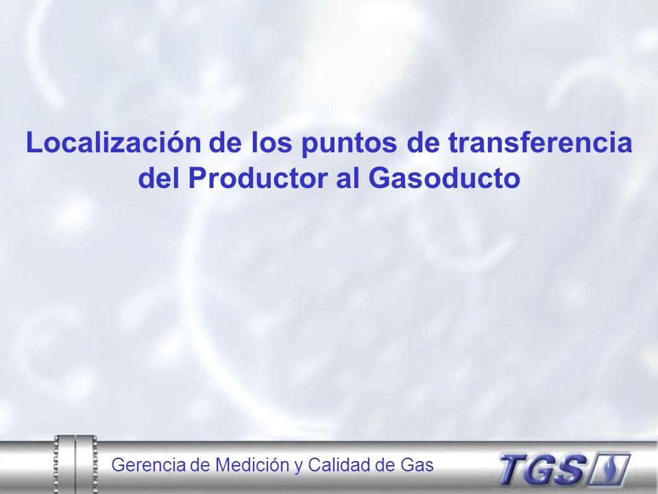 Localización de los puntos de transferencia del Productor al Gasoducto