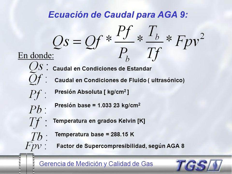 Ecuación de Caudal para AGA 9: