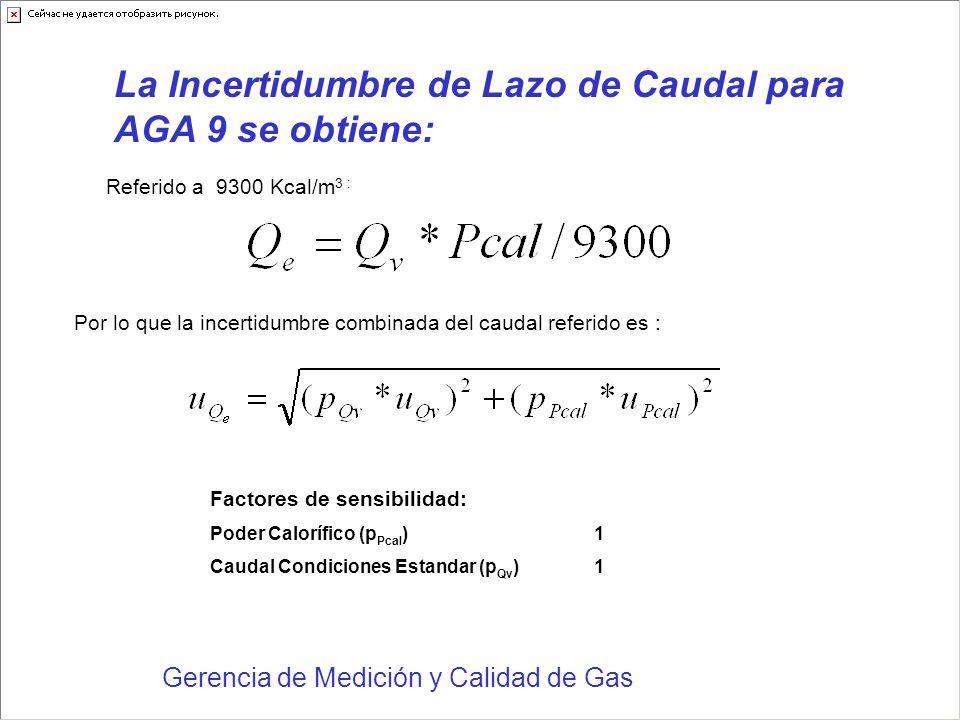 La Incertidumbre de Lazo de Caudal para AGA 9 se obtiene: