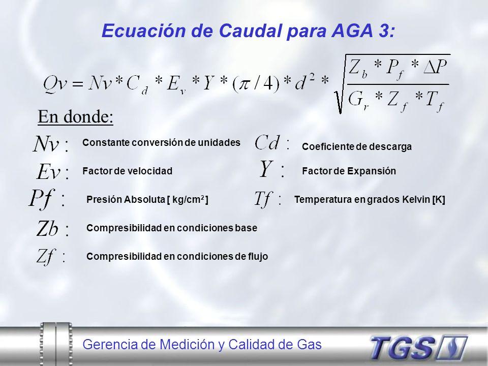 Ecuación de Caudal para AGA 3: