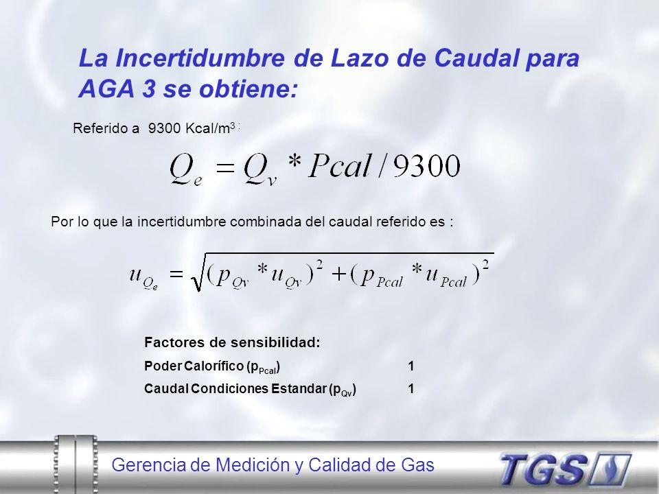 La Incertidumbre de Lazo de Caudal para AGA 3 se obtiene: