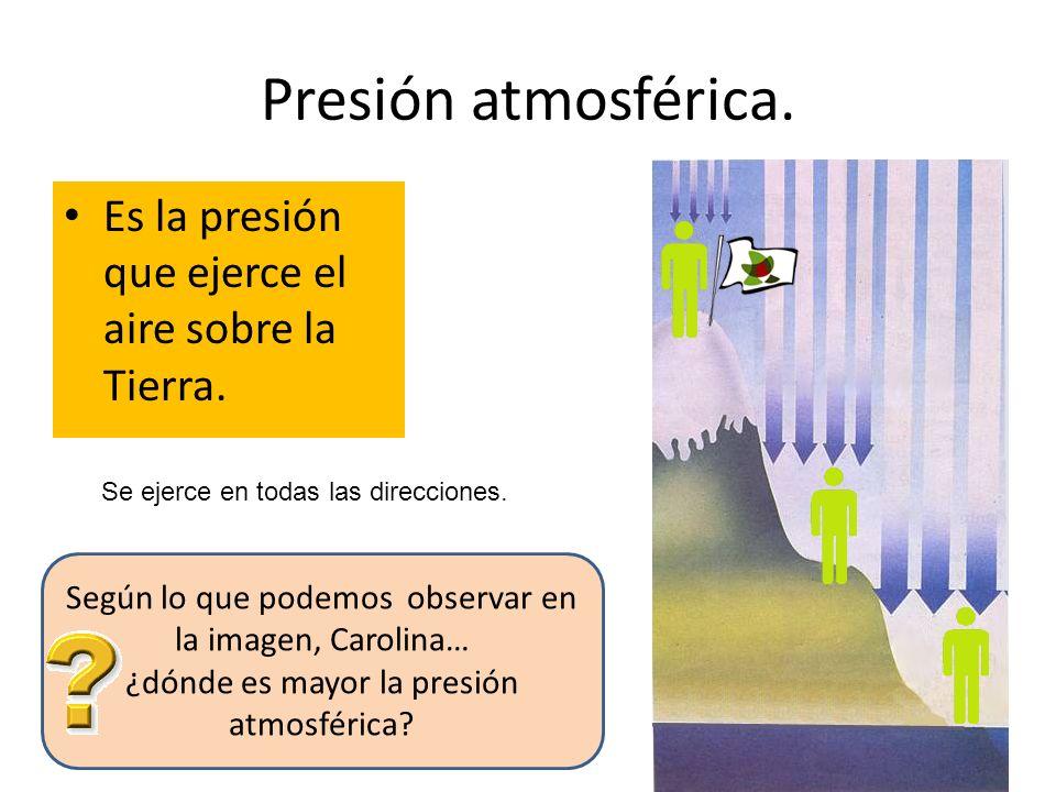 Presión atmosférica. Es la presión que ejerce el aire sobre la Tierra.